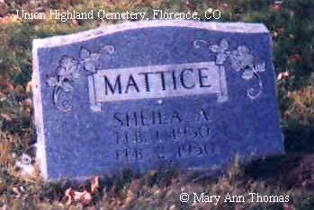 MATTICE, SHEILA A. - Fremont County, Colorado | SHEILA A. MATTICE - Colorado Gravestone Photos