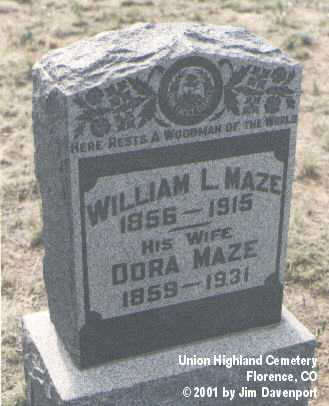 MAZE, WILLIAM L. - Fremont County, Colorado | WILLIAM L. MAZE - Colorado Gravestone Photos