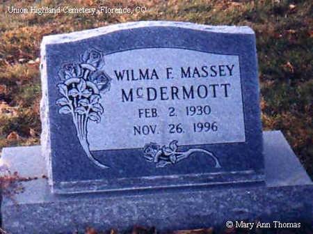 MASSEY MCDERMOTT, WILMA F. - Fremont County, Colorado | WILMA F. MASSEY MCDERMOTT - Colorado Gravestone Photos