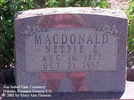 MCDONALD, NETTIE E. - Fremont County, Colorado   NETTIE E. MCDONALD - Colorado Gravestone Photos