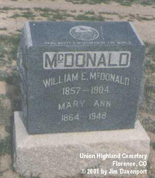MCDONALD, MARY ANN - Fremont County, Colorado | MARY ANN MCDONALD - Colorado Gravestone Photos