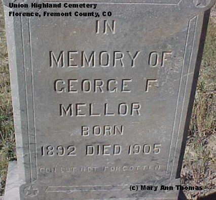 MELLOR, GEORGE F. - Fremont County, Colorado | GEORGE F. MELLOR - Colorado Gravestone Photos