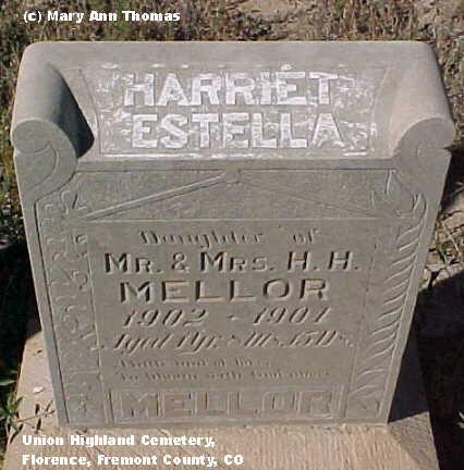 MELLOR, HARRIET ESTELLA - Fremont County, Colorado | HARRIET ESTELLA MELLOR - Colorado Gravestone Photos