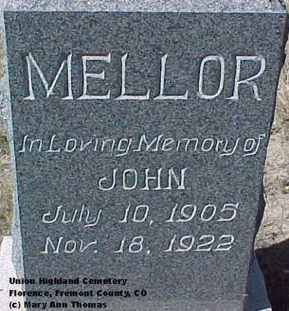 MELLOR, JOHN - Fremont County, Colorado | JOHN MELLOR - Colorado Gravestone Photos