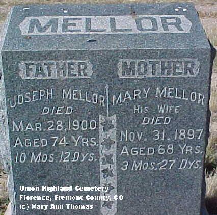 MELLOR, MARY - Fremont County, Colorado | MARY MELLOR - Colorado Gravestone Photos