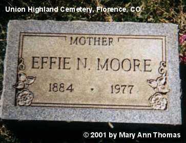 MOORE, EFFIE N. - Fremont County, Colorado | EFFIE N. MOORE - Colorado Gravestone Photos