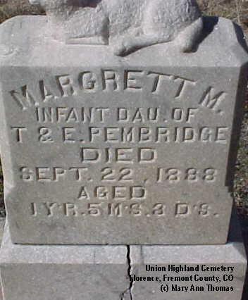 PEMBRIDGE, MARGARET M. - Fremont County, Colorado | MARGARET M. PEMBRIDGE - Colorado Gravestone Photos