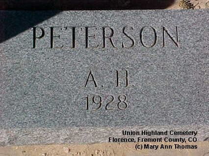 PETERSON, A. H. - Fremont County, Colorado | A. H. PETERSON - Colorado Gravestone Photos