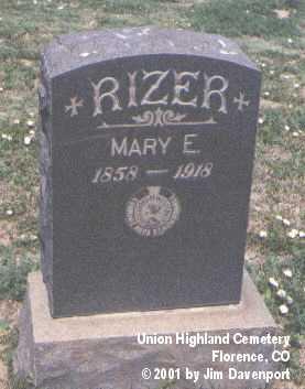 RIZER, MARY E. - Fremont County, Colorado | MARY E. RIZER - Colorado Gravestone Photos