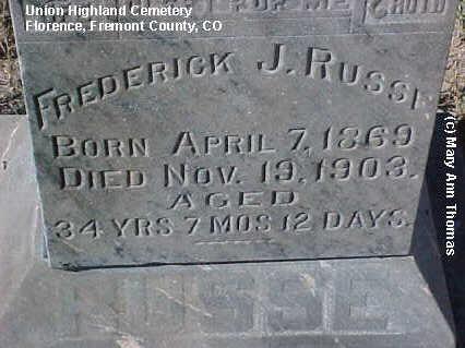RUSSE, FREDERICK J. - Fremont County, Colorado | FREDERICK J. RUSSE - Colorado Gravestone Photos