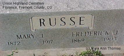 RUSSE, MARY J. - Fremont County, Colorado   MARY J. RUSSE - Colorado Gravestone Photos