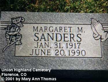 SANDERS, MARGARET M. - Fremont County, Colorado | MARGARET M. SANDERS - Colorado Gravestone Photos