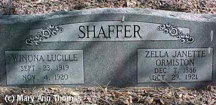 SHAFFER, ZELLA JANETTE ORMISTON - Fremont County, Colorado | ZELLA JANETTE ORMISTON SHAFFER - Colorado Gravestone Photos