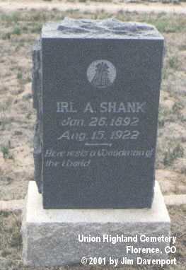 SHANK, IRL A. - Fremont County, Colorado   IRL A. SHANK - Colorado Gravestone Photos