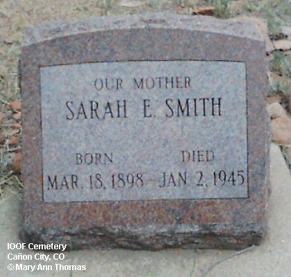 SMITH, SARAH E. - Fremont County, Colorado   SARAH E. SMITH - Colorado Gravestone Photos
