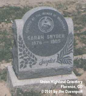 SNYDER, SARAH - Fremont County, Colorado | SARAH SNYDER - Colorado Gravestone Photos