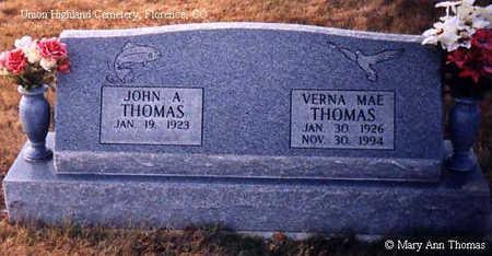 THOMAS, VERNA MAE - Fremont County, Colorado | VERNA MAE THOMAS - Colorado Gravestone Photos