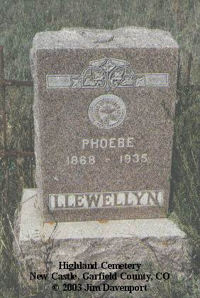 LLEWELLYN, PHOEBE - Garfield County, Colorado | PHOEBE LLEWELLYN - Colorado Gravestone Photos