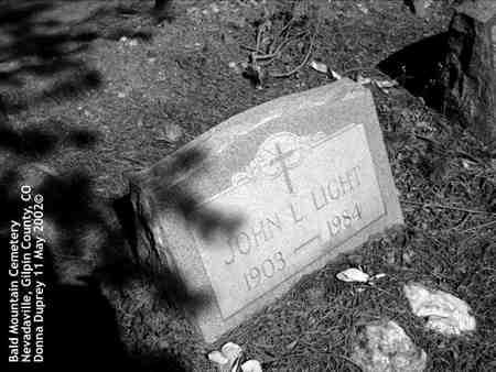 LIGHT, JOHN L. - Gilpin County, Colorado | JOHN L. LIGHT - Colorado Gravestone Photos