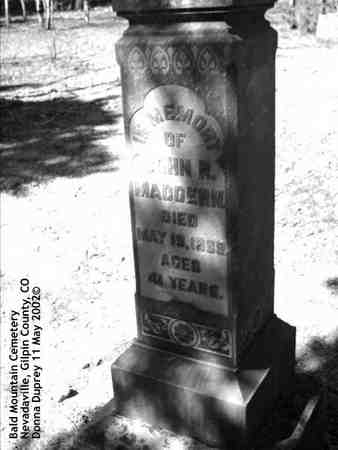 MADDERN, JOHN R. - Gilpin County, Colorado | JOHN R. MADDERN - Colorado Gravestone Photos