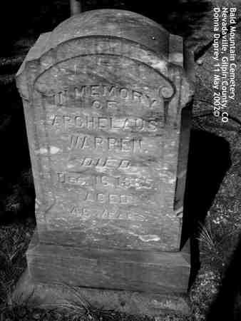 WARREN, ARCHELAUS - Gilpin County, Colorado | ARCHELAUS WARREN - Colorado Gravestone Photos