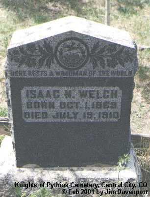 WELCH, ISAAC N. - Gilpin County, Colorado | ISAAC N. WELCH - Colorado Gravestone Photos