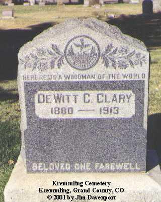 CLARY, DEWITT C. - Grand County, Colorado   DEWITT C. CLARY - Colorado Gravestone Photos