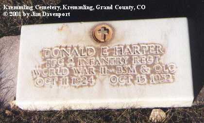 HARPER, DONALD E. - Grand County, Colorado   DONALD E. HARPER - Colorado Gravestone Photos