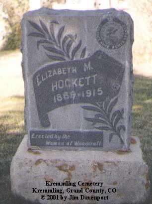 HOCKETT, ELIZABETH M. - Grand County, Colorado | ELIZABETH M. HOCKETT - Colorado Gravestone Photos