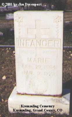 INFANGER, MARIE - Grand County, Colorado | MARIE INFANGER - Colorado Gravestone Photos