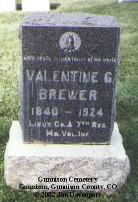 BREWER, VALENTINE G. - Gunnison County, Colorado   VALENTINE G. BREWER - Colorado Gravestone Photos
