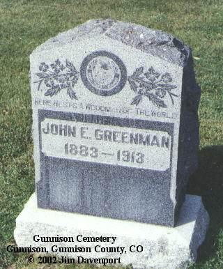 GREENMAN, JOHN E. - Gunnison County, Colorado | JOHN E. GREENMAN - Colorado Gravestone Photos