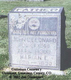 LEONARD, JOHN C. - Gunnison County, Colorado   JOHN C. LEONARD - Colorado Gravestone Photos
