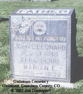 LEONARD, JOHN C. - Gunnison County, Colorado | JOHN C. LEONARD - Colorado Gravestone Photos