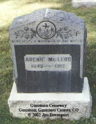 MCLEOD, ARCHIE - Gunnison County, Colorado | ARCHIE MCLEOD - Colorado Gravestone Photos