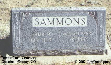 SAMMONS, WILLIAM PERRY - Gunnison County, Colorado | WILLIAM PERRY SAMMONS - Colorado Gravestone Photos