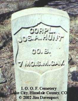 HUNT, JOS. A. - Hinsdale County, Colorado | JOS. A. HUNT - Colorado Gravestone Photos