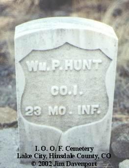 HUNT, WM. P. - Hinsdale County, Colorado | WM. P. HUNT - Colorado Gravestone Photos