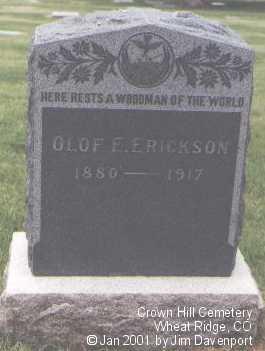 ERICKSON, OLOF E. - Jefferson County, Colorado   OLOF E. ERICKSON - Colorado Gravestone Photos