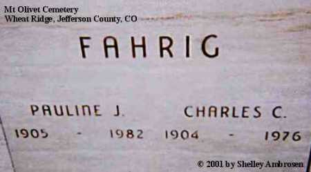 RAPUE FAHRIG, PAULINE J. - Jefferson County, Colorado | PAULINE J. RAPUE FAHRIG - Colorado Gravestone Photos