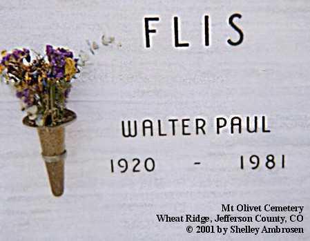 FLIS, WALTER PAUL - Jefferson County, Colorado | WALTER PAUL FLIS - Colorado Gravestone Photos