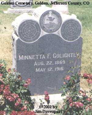 GOLIGHTLY, MINNETTA F. - Jefferson County, Colorado   MINNETTA F. GOLIGHTLY - Colorado Gravestone Photos