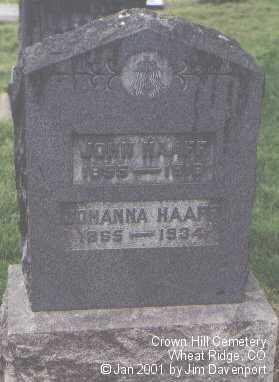 HAAF, JOHANNA - Jefferson County, Colorado | JOHANNA HAAF - Colorado Gravestone Photos