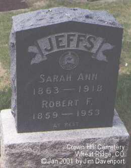 JEFFS, ROBERT F. - Jefferson County, Colorado   ROBERT F. JEFFS - Colorado Gravestone Photos