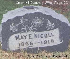NICOLL, MAY E. - Jefferson County, Colorado | MAY E. NICOLL - Colorado Gravestone Photos