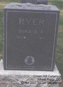 RYER, DONALD A. - Jefferson County, Colorado | DONALD A. RYER - Colorado Gravestone Photos