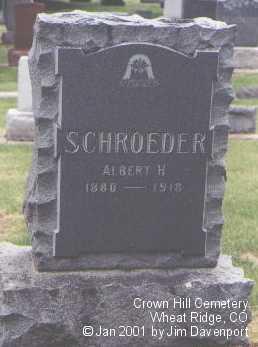 SCHROEDER, ALBERT H. - Jefferson County, Colorado | ALBERT H. SCHROEDER - Colorado Gravestone Photos