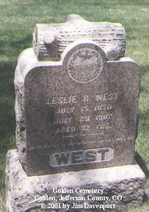 WEST, LESLIE B. - Jefferson County, Colorado | LESLIE B. WEST - Colorado Gravestone Photos