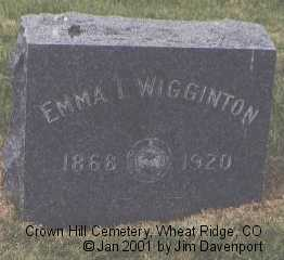 WIGGINTON, EMMA I. - Jefferson County, Colorado | EMMA I. WIGGINTON - Colorado Gravestone Photos