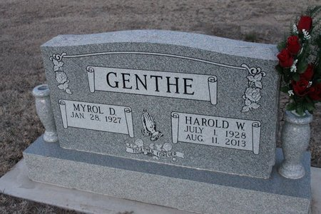 GENTHE, MYROL D - Kit Carson County, Colorado | MYROL D GENTHE - Colorado Gravestone Photos